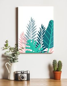 Pastel Leaves - Buy in Aura Design Small Canvas Paintings, Diy Canvas Art, Diy Wall Art, Canvas Art Prints, Canvas Poster, Print Poster, Wall Decor, Farmhouse Wall Art, Guache