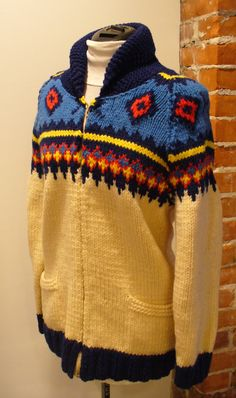 Vintage Heavy Zip Front  Sweater by TheOldBagOnline on Etsy