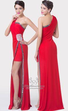 Uzun abiye elbise tek omuz
