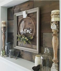 Home wreath. Over the fireplace