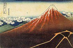 冨嶽三十六景。山下白雨。山肌は夕陽に赤く染まり、山裾では夕立が麓の村に雨を降らす。
