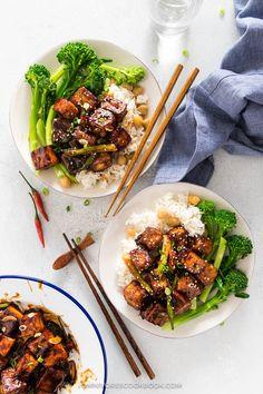 General Tso Tofu (Crispy Tofu without Deep Frying) | Omnivore's Cookbook Stir Fry Recipes, Tofu Recipes, Cookbook Recipes, Asian Recipes, Noodle Recipes, Yummy Recipes, Cake Recipes, Dinner Recipes, Vegans