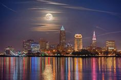 Fantastic view of Cleveland at night taken from Lake Erie.