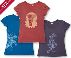 Elephant, sea turtle, and tiger women's tees