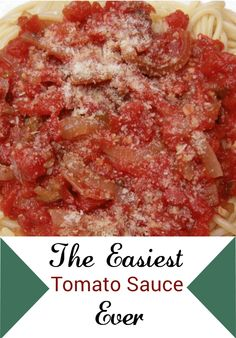 The Easiest Tomato Sauce you'll ever need.  Great on pasta or spaghetti squash.