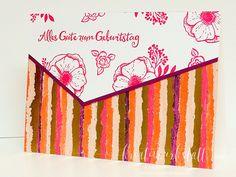 Kreativwerkstatt Karin Müller, Stampin' Up!, Beste Wünsche, Geburtstag, Einfach wunderbar, Besondere Kartenformate, Gemalt mit Liebe