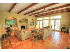 Love the exposed beamed ceilings    For Sale in Hilton Head Island  #homesforsale #realestate