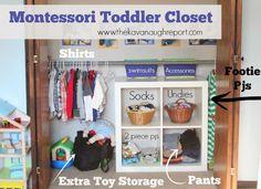 Montessori Toddler Closet:  A closer look with descriptions of the closet redesigned.