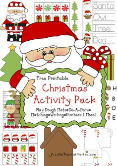 A Little Pinch of Perfect: Free Christmas Printable Pack & Learning Printables-great for young kids. Includes playdough mats, do-a-dots, letter to Santa stationary, pre-writing, scissor skills, fine motor skills, letter recognition, math....super cute Christmas printables!