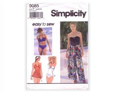 Simplicity 9085 Sewing Pattern Easy to Sew Misses Swimsuits Wrap Pants, Easy Sewing Patterns, Fabrics, Two Piece Skirt Set, Swimsuits, Skirts, Dresses, Fashion, Tejidos