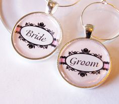 Pale Pink Wedding Wine Charms, silver plate. $7.50, via Etsy.