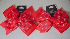Two Girls Red Nautical Hair Bows,White & Blue Anchors $7.00 DISCOUNT