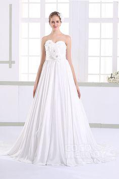 Romantic A-line Sweetheart Natural Train Taffeta Sleeveless Lace Up-Corset Wedding Dress with Flower JWLT15012