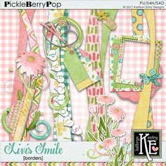 Livi's Smile Borders :: Coordinates with the entire Livi's Smile Digital Scrapbooking Collection by Kathryn Estry @ PickleberryPop  $2.99