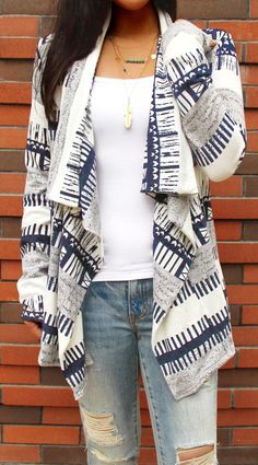 Only $29.99 Women Print Open Knit Cardigan long sleeve grey Striped fall oversized Coat. Search more at CHICNICO!