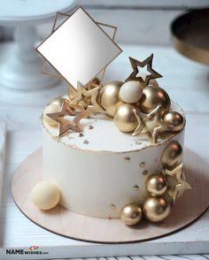 Golden Birthday Cakes, Elegant Birthday Cakes, Cookie Cake Birthday, Birthday Cakes For Teens, Beautiful Birthday Cakes, Adult Birthday Cakes, Birthday Cake Decorating, Cake Decorating Videos, Fondant Birthday Cakes