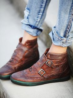 1/2 hi-top, 1/2 brogue. Alll ME! Free People Coleman Distress Sneaker, $149.95 by Liebeskind