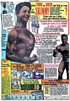 Jowett Bodybuilding System Ad, c. Vintage Advertisements, Vintage Ads, Vintage Posters, Retro Ads, Vintage Comic Books, Vintage Comics, Muscle Magazine, Magazine Ads, Old Bodybuilder