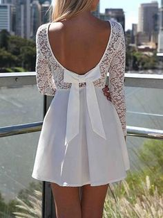 White Heart Lace Long Sleeves Dress