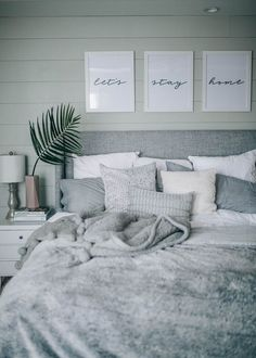 grey, white, cozy, coastal shiplap bedroom decor PRETTY IN THE PINES // a lifest… - bedroom inspirations White Bedroom Decor, Home Decor Bedroom, Bedroom Inspo Grey, Grey Home Decor, Cozy Master Bedroom Ideas, Bedroom Simple, Bedroom Green, Ideas For Bedroom Walls, White Bedroom Furniture Grey Walls