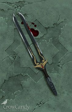 A concept for a tuning fork dagger used in a ritual designed to facilitate social control. This was completed for the concept art class I took last quarter with Dave Danioth. Ninja Weapons, Anime Weapons, Sci Fi Weapons, Weapon Concept Art, Fantasy Sword, Fantasy Weapons, Swords And Daggers, Knives And Swords, Armas Ninja