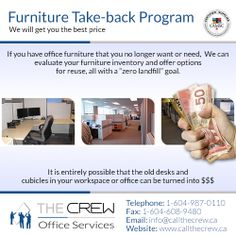 Earn money on your resale or credit towards The Crew office services and offerings to your company! For more information, please call: Office Moving, Recycled Furniture, Office Furniture, Earn Money, Recycling, Old Things, Earning Money, Office Designs, Upcycle