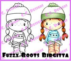 "C.C. Designs Swiss Pixie ""Fuzzy Boots Birgitta"" Rubber Stamp – Quick Creations"