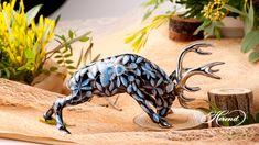 Deer is painted in Special (ZOBA-FN-PT) Blue + Black with Platinum design. China Porcelain, Black Backgrounds, Deer, Moose Art, Hand Painted, Ceramics, Dolls, Pattern, Blue