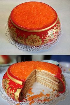 Gorgeous painted Medovik or Russian honey cake with caviar topping. Perfect colors for holidays or weddings.