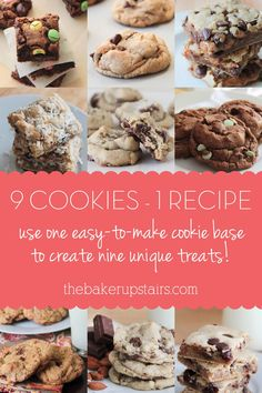 Use one super easy to make cookie base to make nine unique and delicious treats! www.thebakerupstairs.com