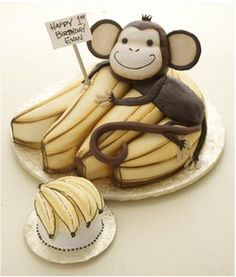MONKEY CAKE!!! -Sarah this is cute for Amber.  Yes, it is!!!