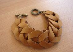 Honey leather bracelet by TheOrangePoppy on Etsy, $30.00