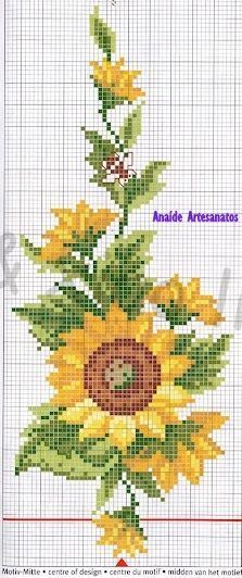 Anaide Ponto Cruz: Um lindo gráfico de girassol pra vocês bordarem,bom dia um belíssimo trabalho!!!!