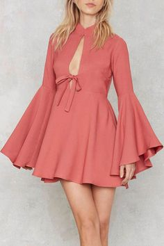Cut Out Stand Neck Long Sleeve Dress