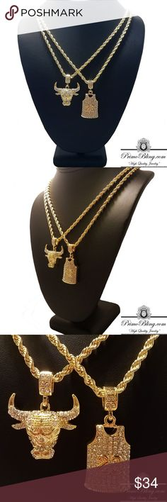 """14k Gold Plated Chicago Bulls Jordan Necklace Set When it comes to quality we are the Go To! Our Hip Hop Bling Pendants are most definitely top of the line! Each Pendant is 2x 14k Gold Plated and the Stones are Individually Micro Pave Set! We Sell Everything from Grillz to Watches if your in the market for Hip Hop Jewelry Shop PrimoBling.com  14k Gold Plated Micro Pave Setting Lab Simulated Stones 2 24"""" Rope Chains 2 Hip Hop Pendants PrimoBling.com Accessories Jewelry"""