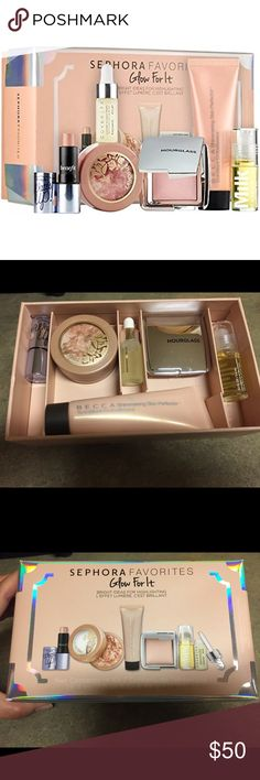 Sephora Favorites GLOW FOR IT Kit Sephora Favorites GLOW FOR IT Kit. Brand new in box. contains: 0.68 oz/ 20 mL Becca Shimmering Skin Perfector Liquid in Moonstone, 0.08 oz/ 2.5 g Benefit Cosmetics Watt's Up! Cream-to-Powder Highlighter in Champagne, 0.10 oz/ 3 mL Cover FX Custom Infusion Drops in C+ Lemongrass – Radiance, 0.049 oz/ 1.4 g Hourglass Ambient® Strobe Lighting Powder in Incandescent Strobe Light, 0.14 oz/ 3.9 g Lancôme Glow Subtil Silky Crème Highlighter in Glowing Lights 06…