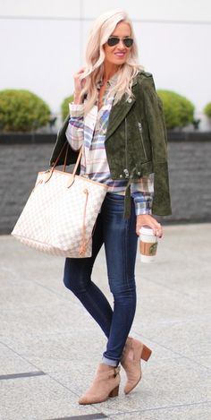 #winter #outfits /  Green Velvet Jacket // Striped Shirt // Navy Skinny Jeans // Camel Booties