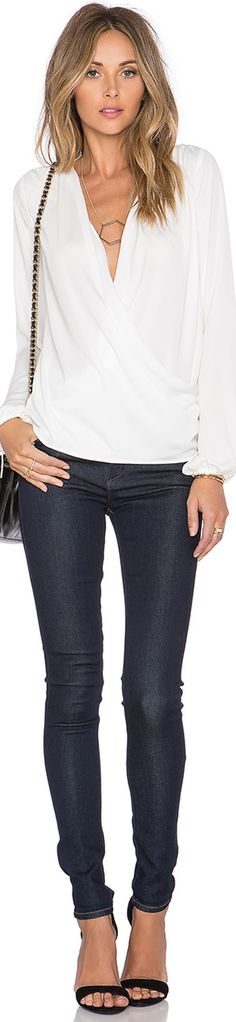 L'ACADEMIE THE WRAP BLOUSE IVORY