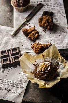 Fotogrammi di zucchero: Muffin al cioccolato e noci