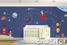 Large Children Wall Decal - Outer Space Theme with Stars, Spaceship, Aliens and Astronauts