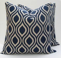 Throw Pillow Set of Two Covers.Blue Pillow .Blue Tan Pillow 20 x 20 covers printed fabric on front and back 20x20 Throw Pillow Covers