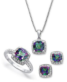 Sterling Silver Jewelry Set, Mystic Topaz (4-3/4 ct. t.w.) and Diamond Accent Necklace, Earrings and Ring Set