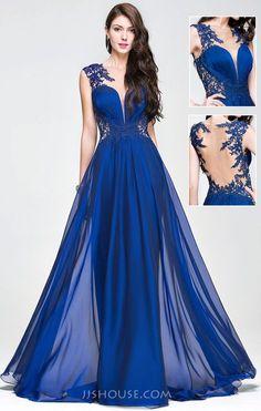 A-Line/Princess Scoop Neck Sweep Train Chiffon Prom Dress With Ruffle Beading… Beautiful Long Dresses, Beautiful Evening Gowns, Pretty Prom Dresses, Unique Prom Dresses, A Line Prom Dresses, Grad Dresses, Stunning Dresses, Homecoming Dresses, Blue Dresses