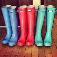 Hunter boots, one in every color