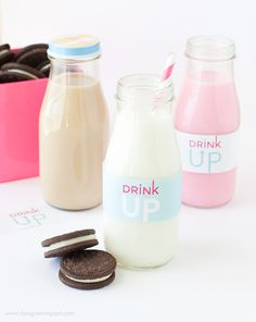 Free Printable Milk Bottle Labels | http://www.designeatrepeat.com/2014/05/free-printable-milk-bottle-labels/