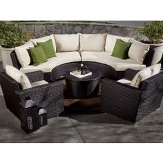 Curved Outdoor Wicker Sectional Sets   WickerCentral.com