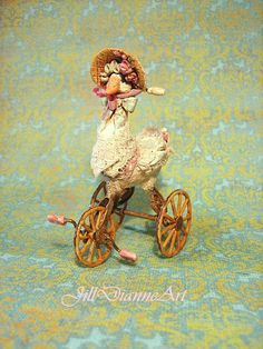 "Jill Dianne - Hand-sculpted - ""Mechanical"" Spring Goose Tricycle - Miniature Child Nursery Decor in scale."
