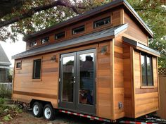 This is the Cider Box Tiny House on Wheels by ShelterWise. It's a modern tiny house on wheels that was designed and built for a client of ShelterWise who wanted to live in the… Tiny House Swoon, Tiny House Living, Tiny House Plans, Tiny House Design, Tiny House On Wheels, Tiny House Movement, Mini Chalet, Tyni House, Casas Containers