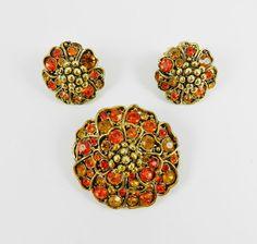 Beautiful Vintage Rhinestone Brooch Earring by SparklyKreations