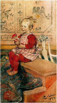 Carl Larsson: Lisbeth - 1894 - Carl Larsson, Swedish painter and interior designer - Art Nouveau Carl Larsson, Carl Spitzweg, Munier, Little Doll, Arts And Crafts Movement, Museum Of Fine Arts, Les Oeuvres, Illustrators, Art For Kids